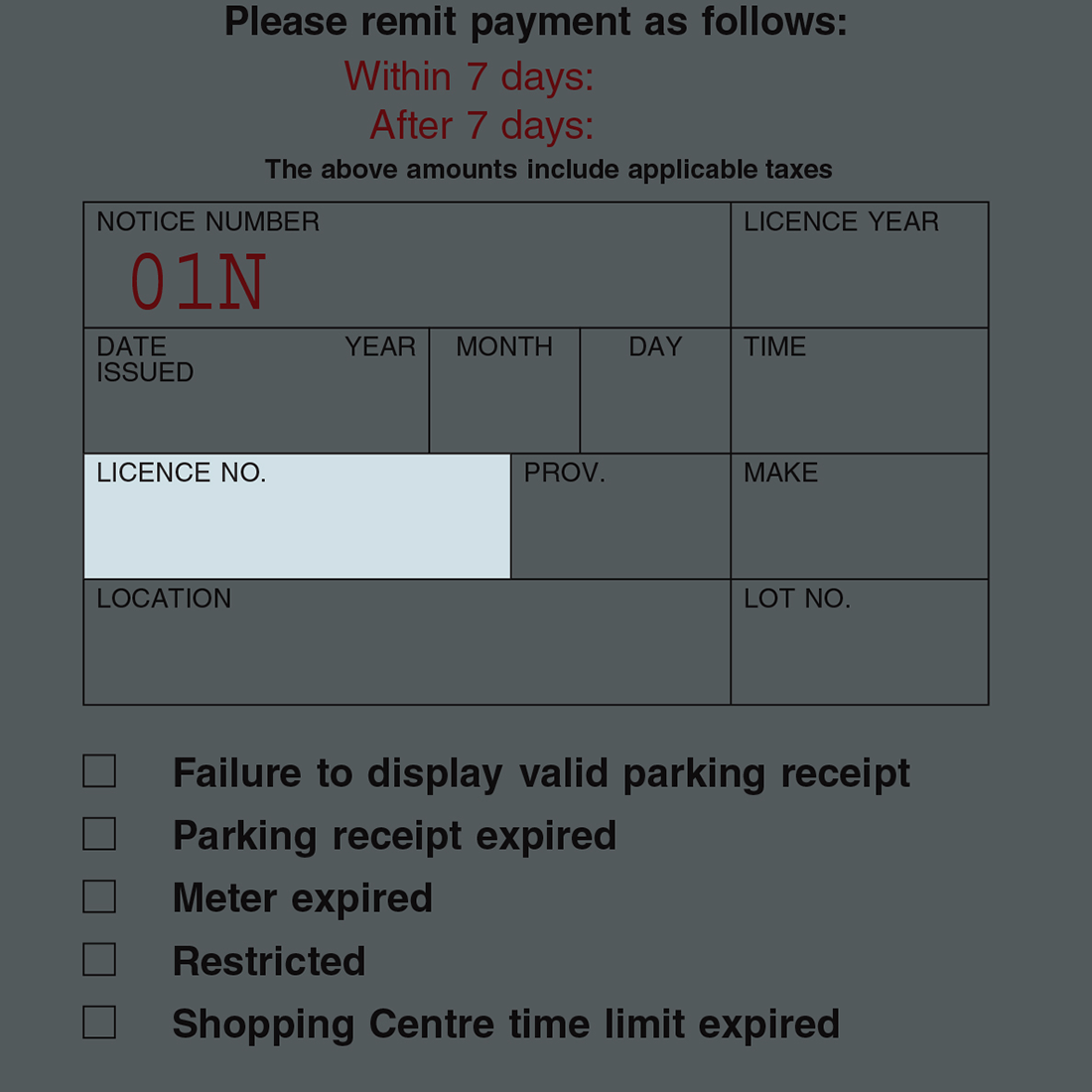 Parking Notice Example